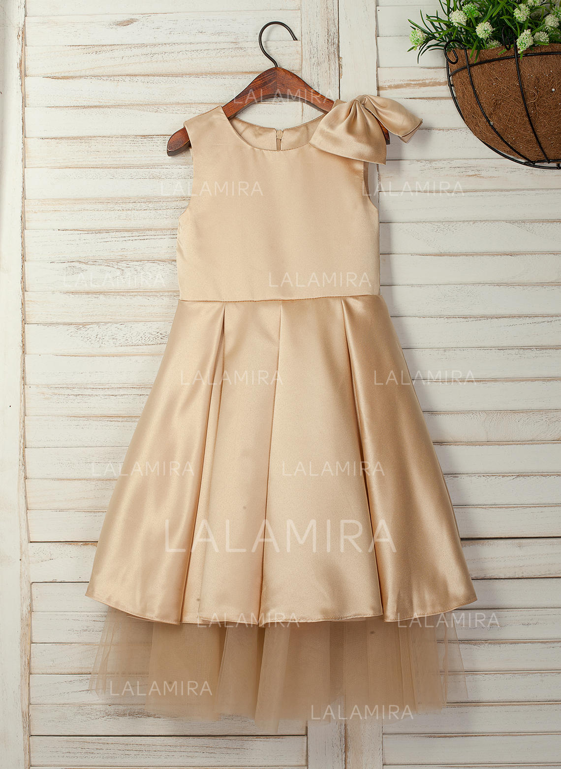 75798e57a4d A-Line Princess Tea-length Flower Girl Dress - Satin Sleeveless Scoop Neck. Loading  zoom