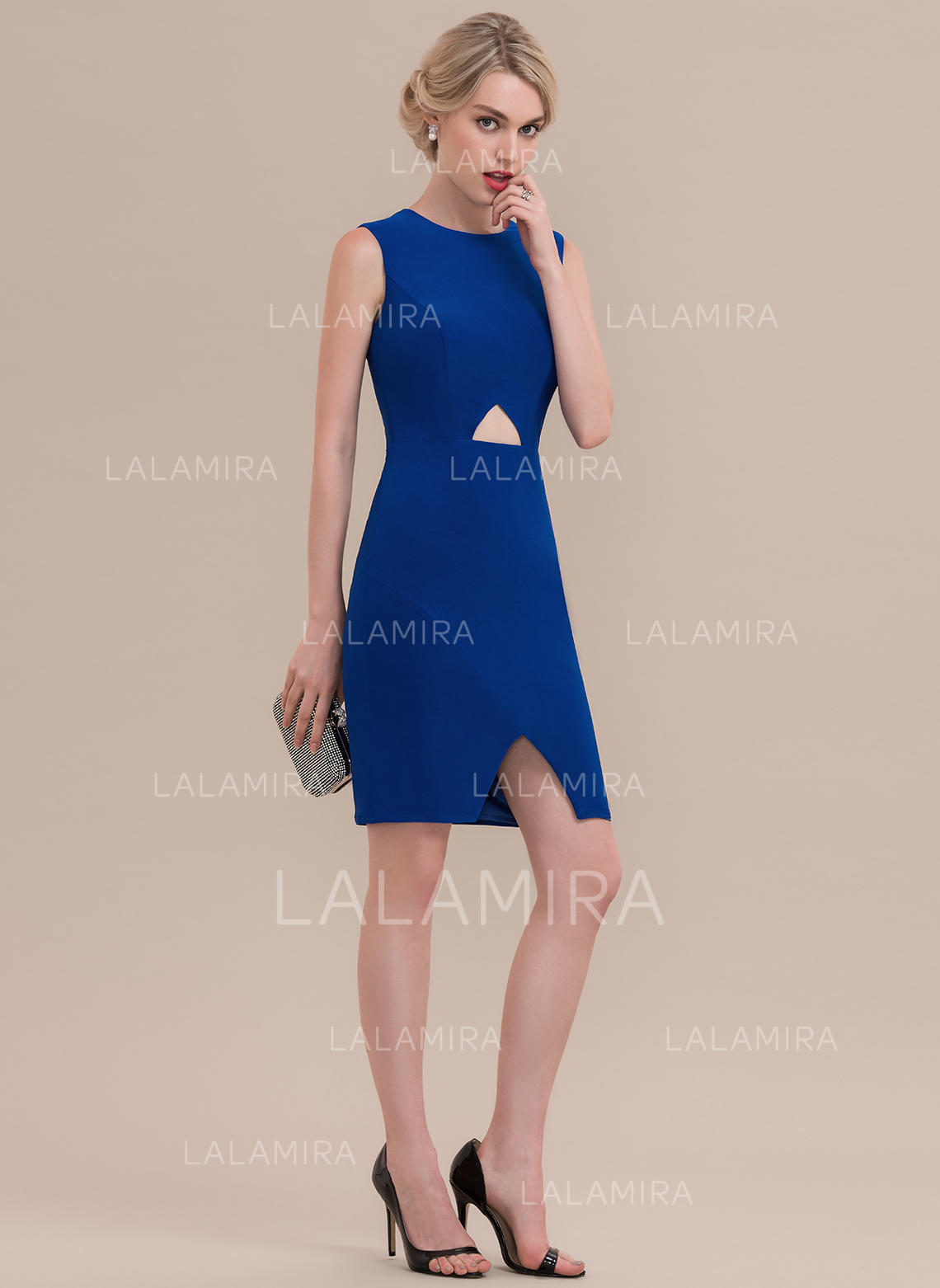 b5792c6ca325b Knee-Length Sheath/Column Sleeveless Jersey Cocktail Dresses (016108740). Loading  zoom