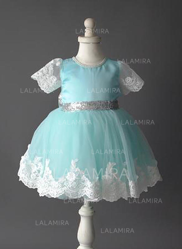 65cf61326 Decote redondo Vestidos princesa/ Formato A Vestidos de daminha Tule/Renda  Manga curta Curto. Loading zoom