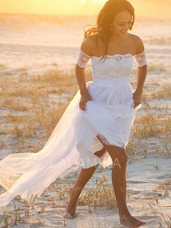 floor-length short sleeves a-line/princess - tulle wedding dresses