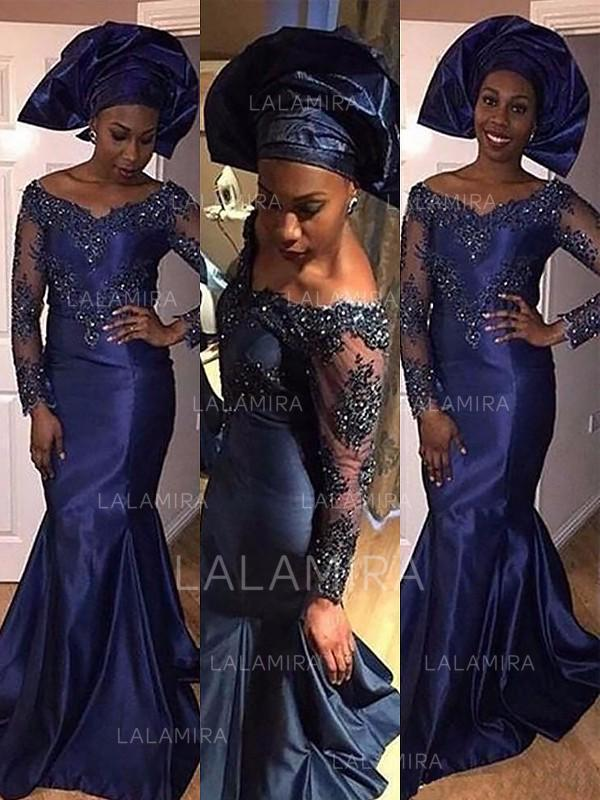 flattering off-the-shoulder trumpet/mermaid long sleeves satin prom dresses