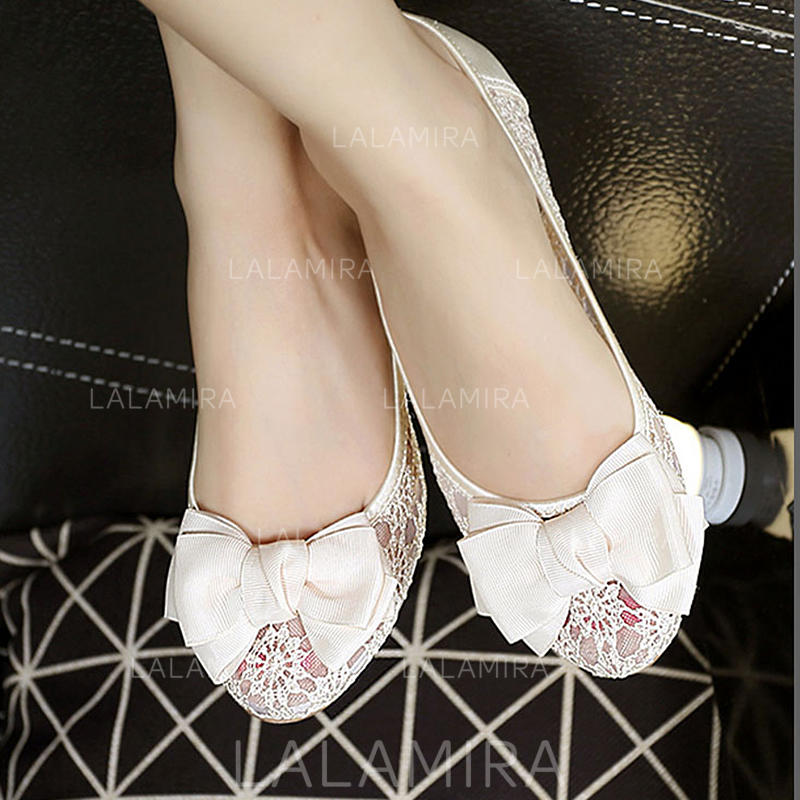 No Heel Wedding Shoes: Women's Flat Heel Lace No Wedding Shoes #208262