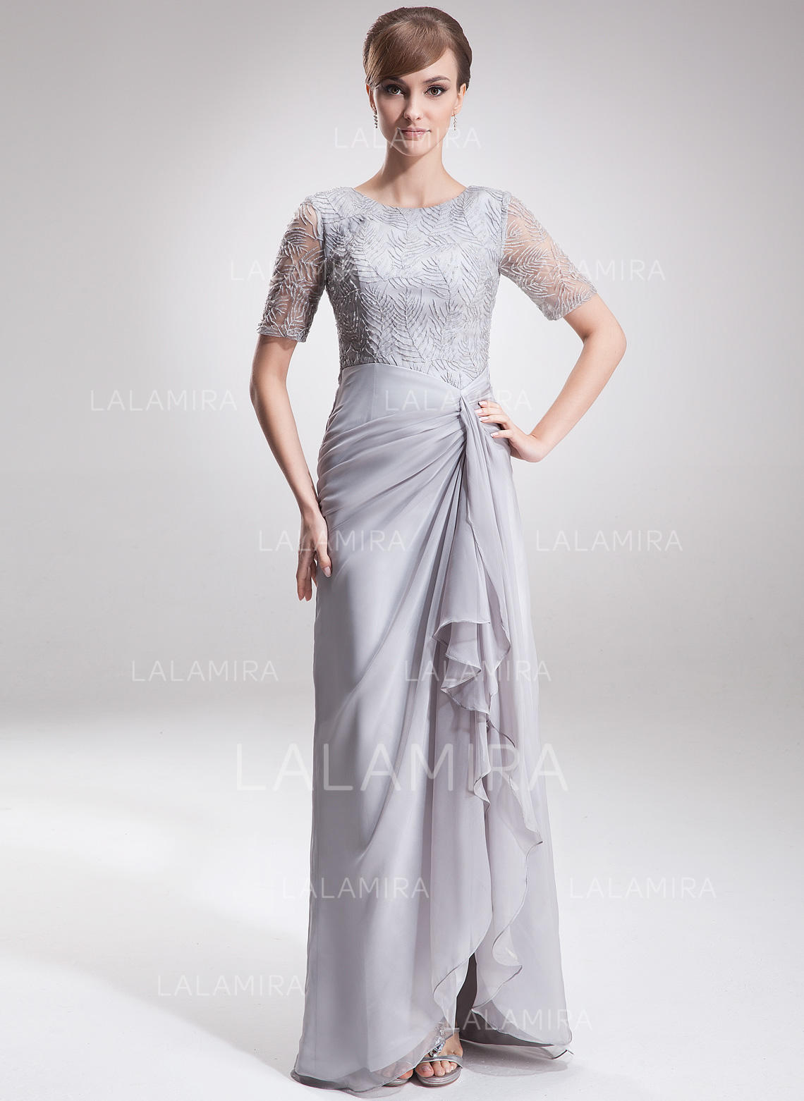 a353a85d344 ... mauve mother of the bride dresses. A-Line Princess Chiffon Lace 1 2  Sleeves Scoop Neck Asymmetrical Zipper Up. Loading zoom