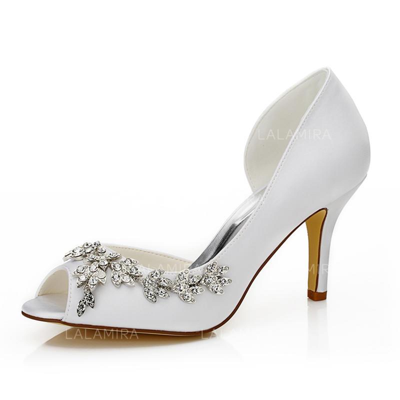 39cf4ee4e3 Women's Peep Toe Sandals Stiletto Heel Satin With Rhinestone Wedding Shoes  (047205994). Loading zoom