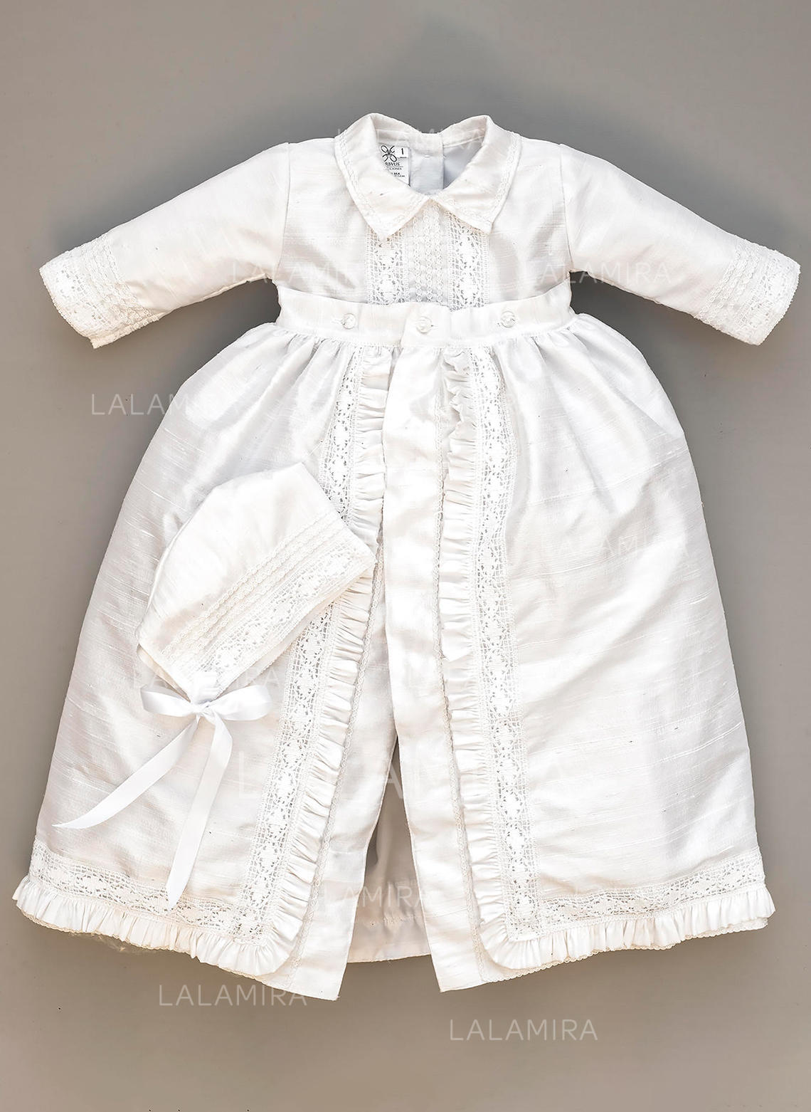1b2bbe3e6 Satin Peter Pan Collar Lace Baby Boy's Christening Outfits With Long  Sleeves (2001217975). Loading zoom