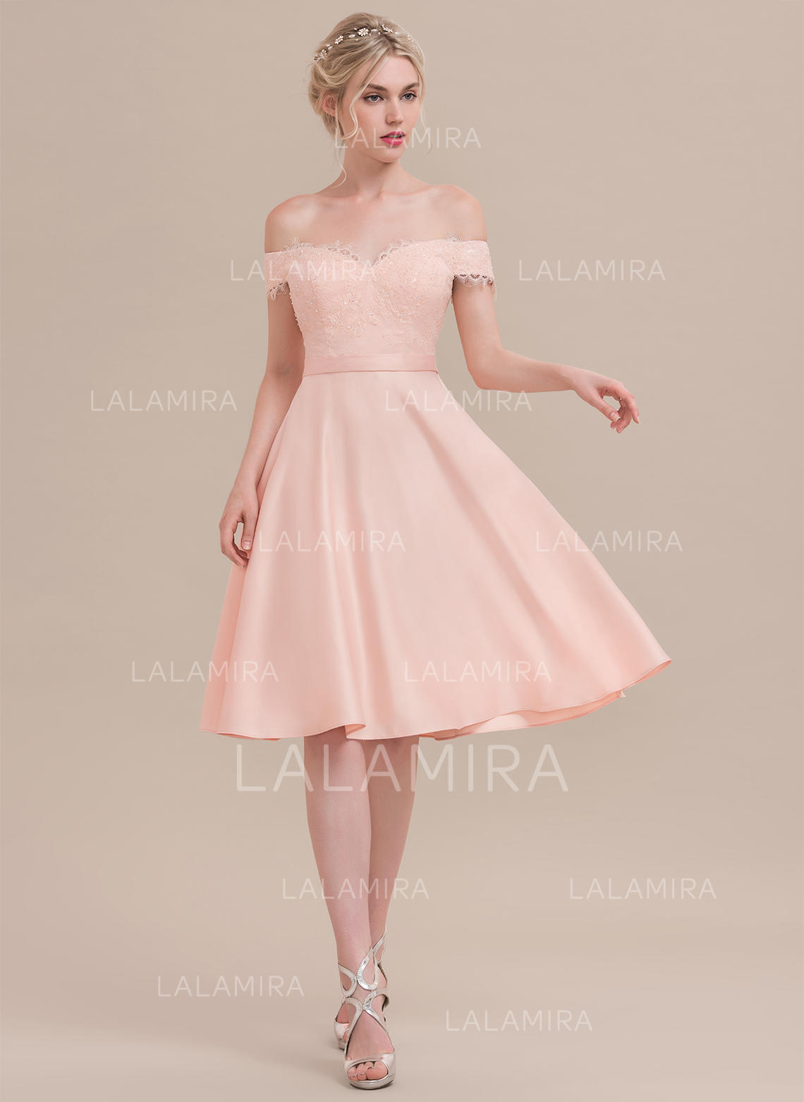 d1844dc1834 Glamorous Satin Homecoming Dresses A-Line Princess Knee-Length Off-the-.  Loading zoom
