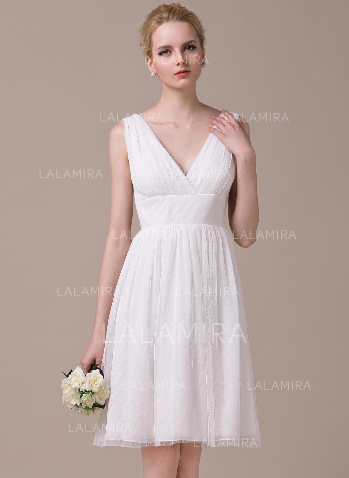 A-Line/Princess V-neck Knee-Length Chiffon Tulle Wedding Dress With ...