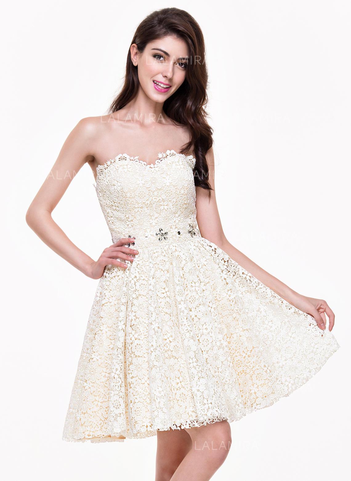 38238424116428 Elegant Lace Homecoming Dresses A-Line/Princess Short/Mini Sweetheart  Sleeveless (022214051. Loading zoom