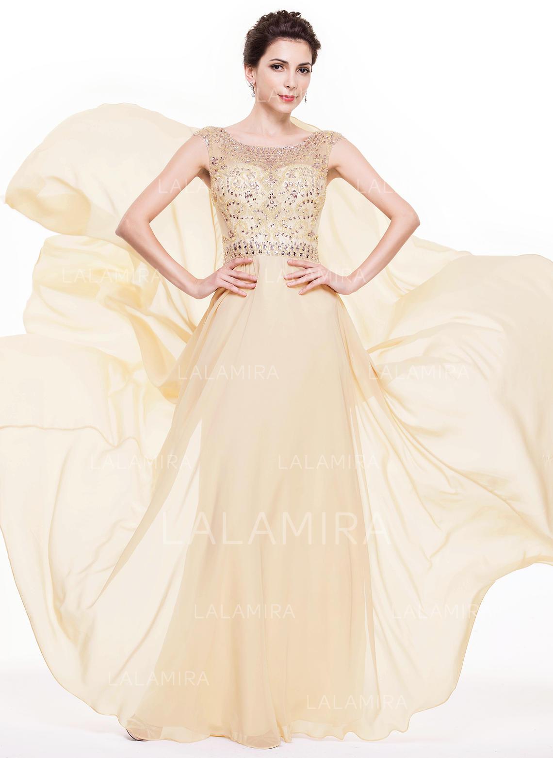cb3256e30a8 A-Line Princess Chiffon Prom Dresses Beading Sequins Scoop Neck Sleeveless  Floor-Length. Loading zoom