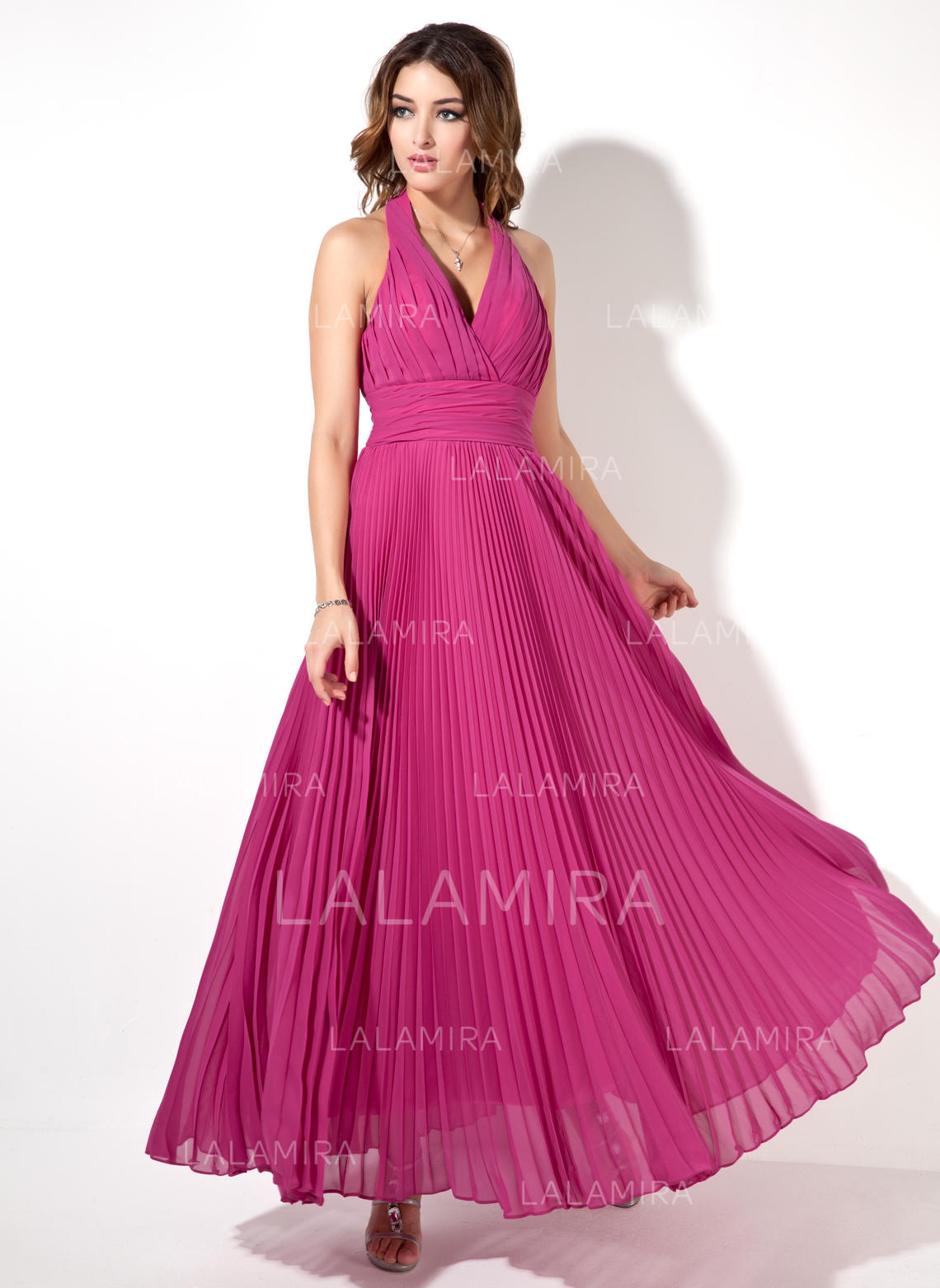 44d80170a16 Halter Chiffon Ankle-Length Evening Dresses Sleeveless (017022526). Loading  zoom