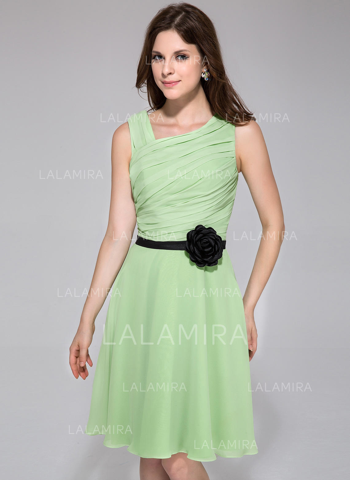 68f876d9283e A-Line/Princess Chiffon Bridesmaid Dresses Ruffle Sash Flower(s) Sleeveless  Knee. Loading zoom