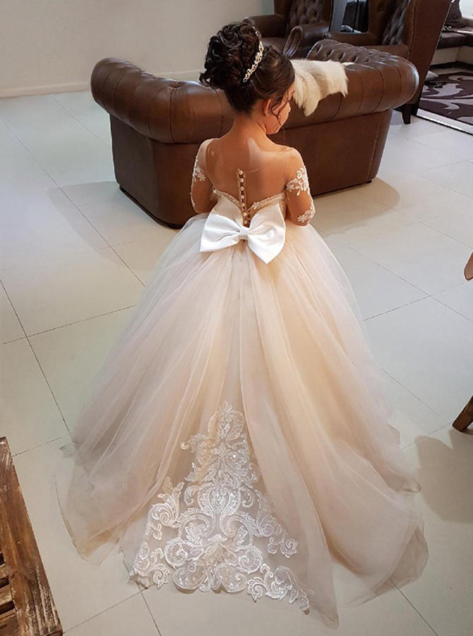 328d542f6 Scoop Neck Ball Gown Flower Girl Dresses Bow(s) Long Sleeves Sweep Train  (010146757)