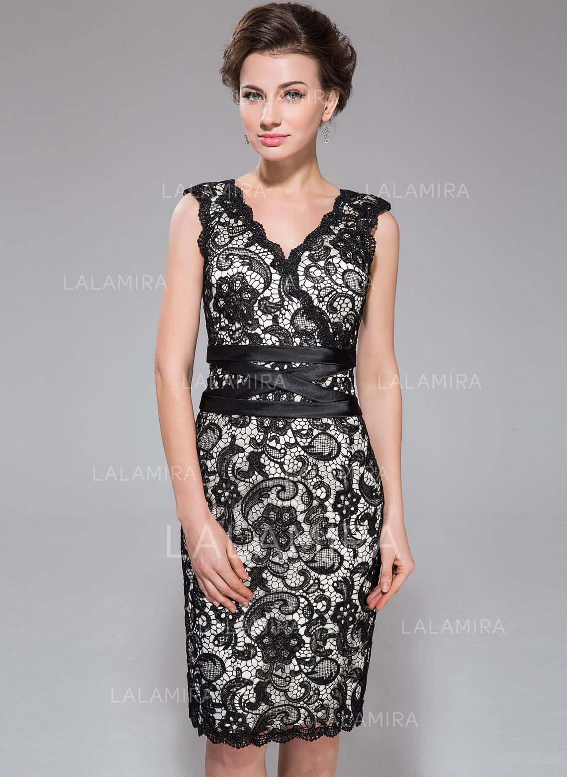 6da12aa670f83 Sleeveless V-neck Stunning Charmeuse Lace Sheath/Column Cocktail Dresses  (016211506). Loading zoom