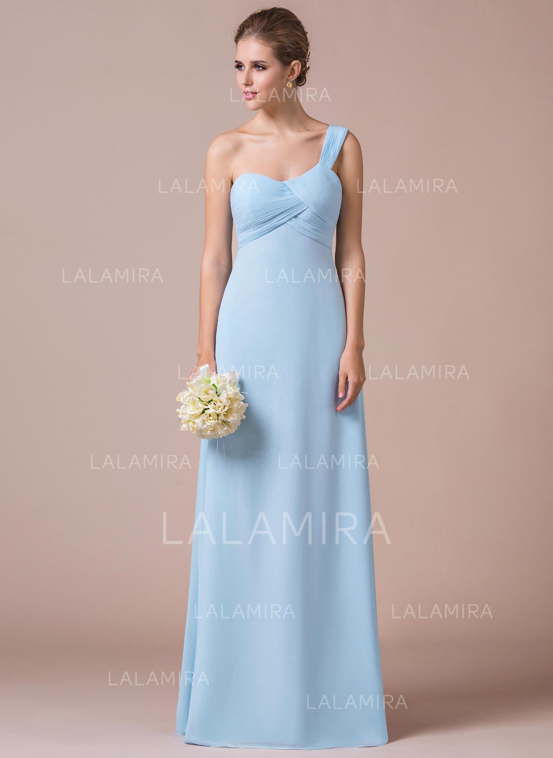 02fc1de68e Empire Chiffon Bridesmaid Dresses Ruffle One-Shoulder Sleeveless Floor- Length (007057411). Loading zoom