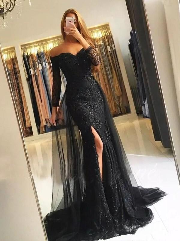0beaebce3664 Lace Split Front Off-the-Shoulder With Trumpet/Mermaid Lace Evening Dresses  (. Loading zoom