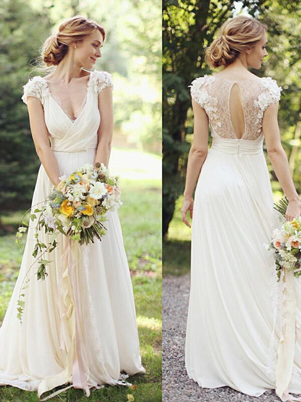 Ruffle Lace Wedding Dress