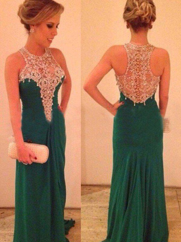 sleeveless princess chiffon scoop neck prom dresses