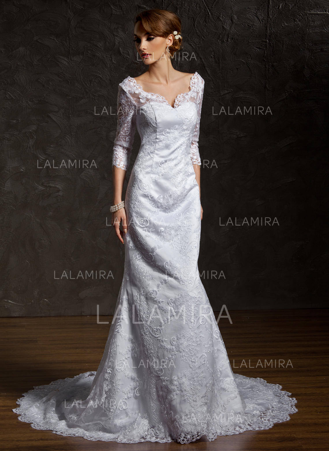 chapel train trumpet/mermaid with lace sweetheart wedding dresses