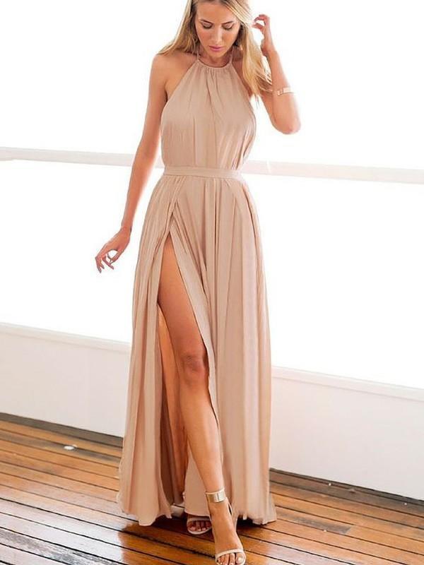 c86ab28e10 A-Line/Princess Halter Chiffon Sleeveless Fashion Prom Dresses (018145895).  Loading zoom