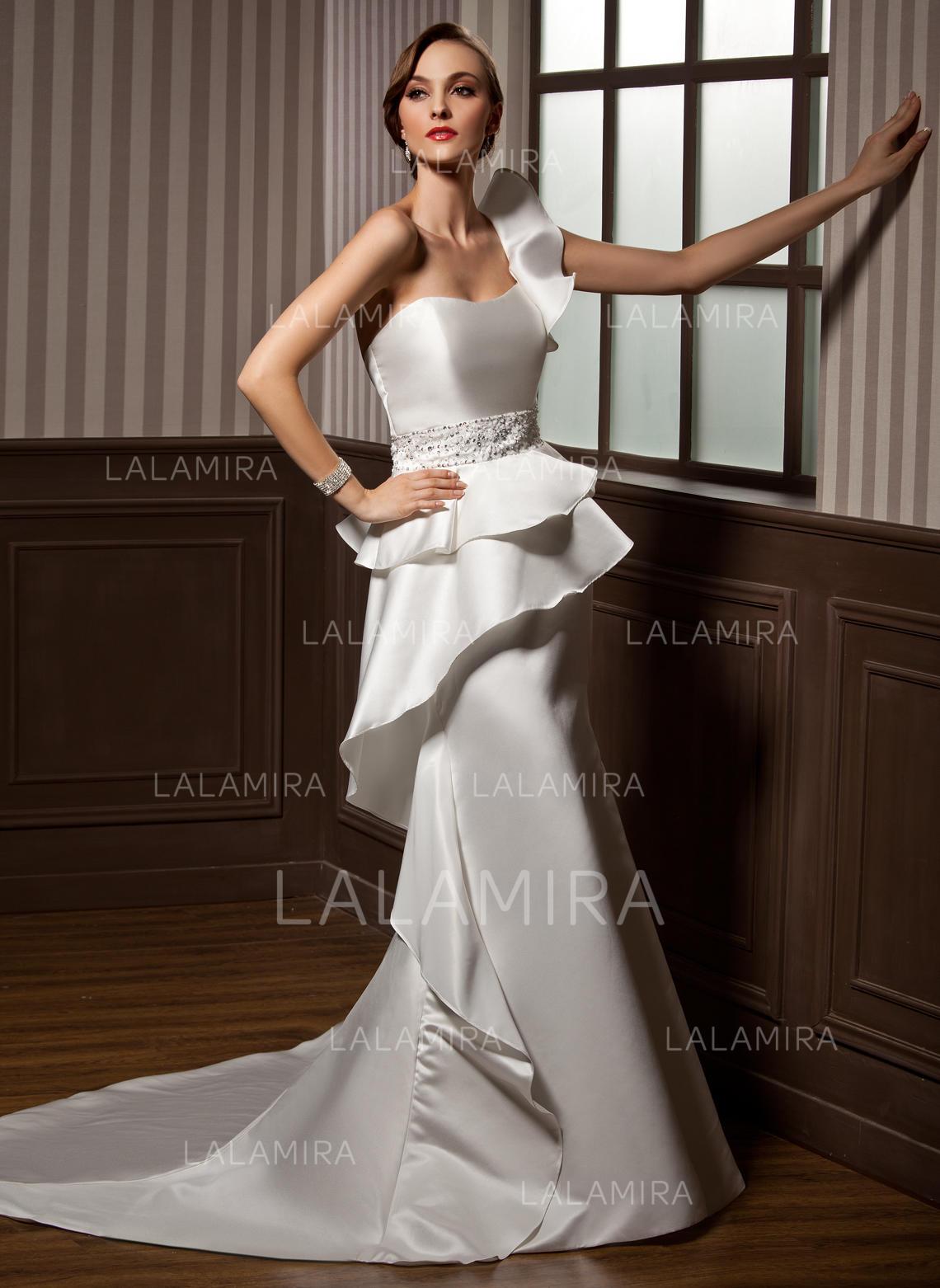beautiful one shoulder trumpet/mermaid wedding dresses chapel train satin sleeveless