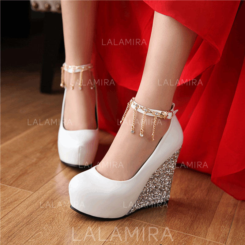 No Heel Wedding Shoes: Women's Wedge Heel Leatherette No Wedding Shoes #208197