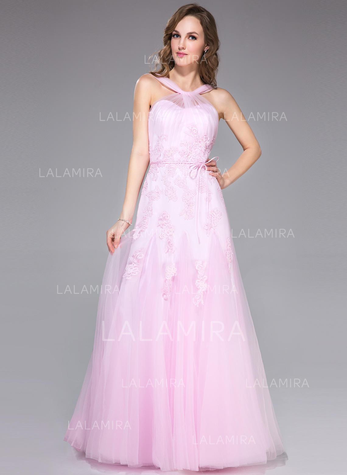 Princess Trumpet/Mermaid Tulle Floor-Length Sleeveless Prom Dresses