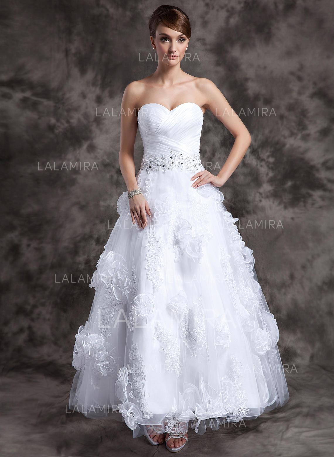 e103f1797266 Älsklingsringning A-linjeformat Bröllopsklänningar Organzapåse Tyll Beading  Applikationer Spetsar Blomma (or) Ärmlös Ankel. Loading zoom
