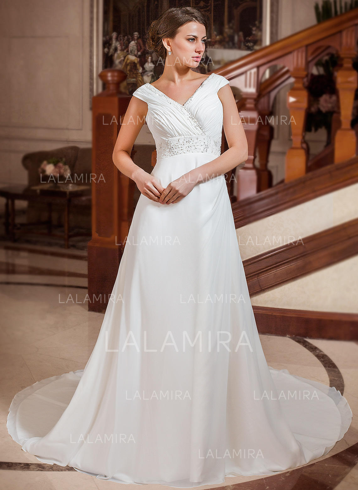52ebccf08f7 Sweetheart A-Line Princess Wedding Dresses Chiffon Ruffle Beading  Sleeveless Chapel Train (002211288. Loading zoom
