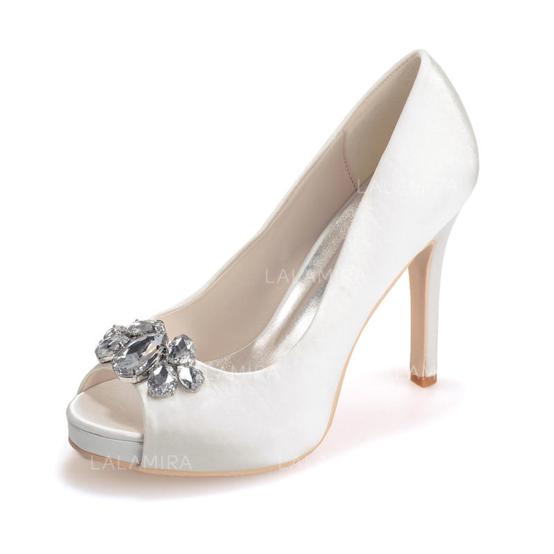 6ee810324756 Women s Peep Toe Platform Sandals Stiletto Heel Satin With Crystal Wedding  Shoes (047205144). Loading zoom