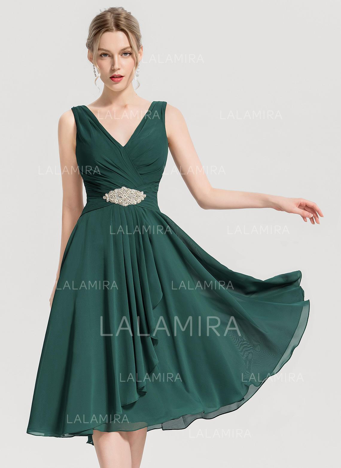 eabdc59fb89 A-Line Princess V-neck Knee-Length Chiffon Homecoming Dress With Beading.  Loading zoom
