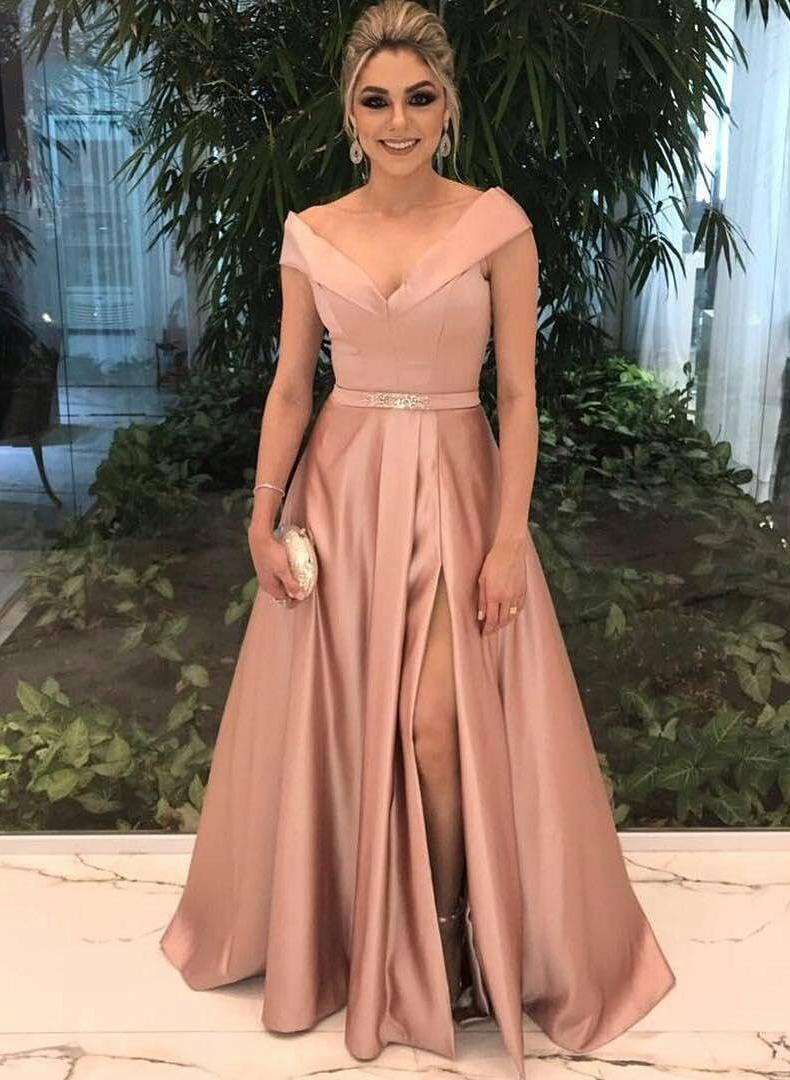 f21eb85517d Glamorous Satin Evening Dresses A-Line/Princess Floor-Length V-neck  Sleeveless. Loading zoom