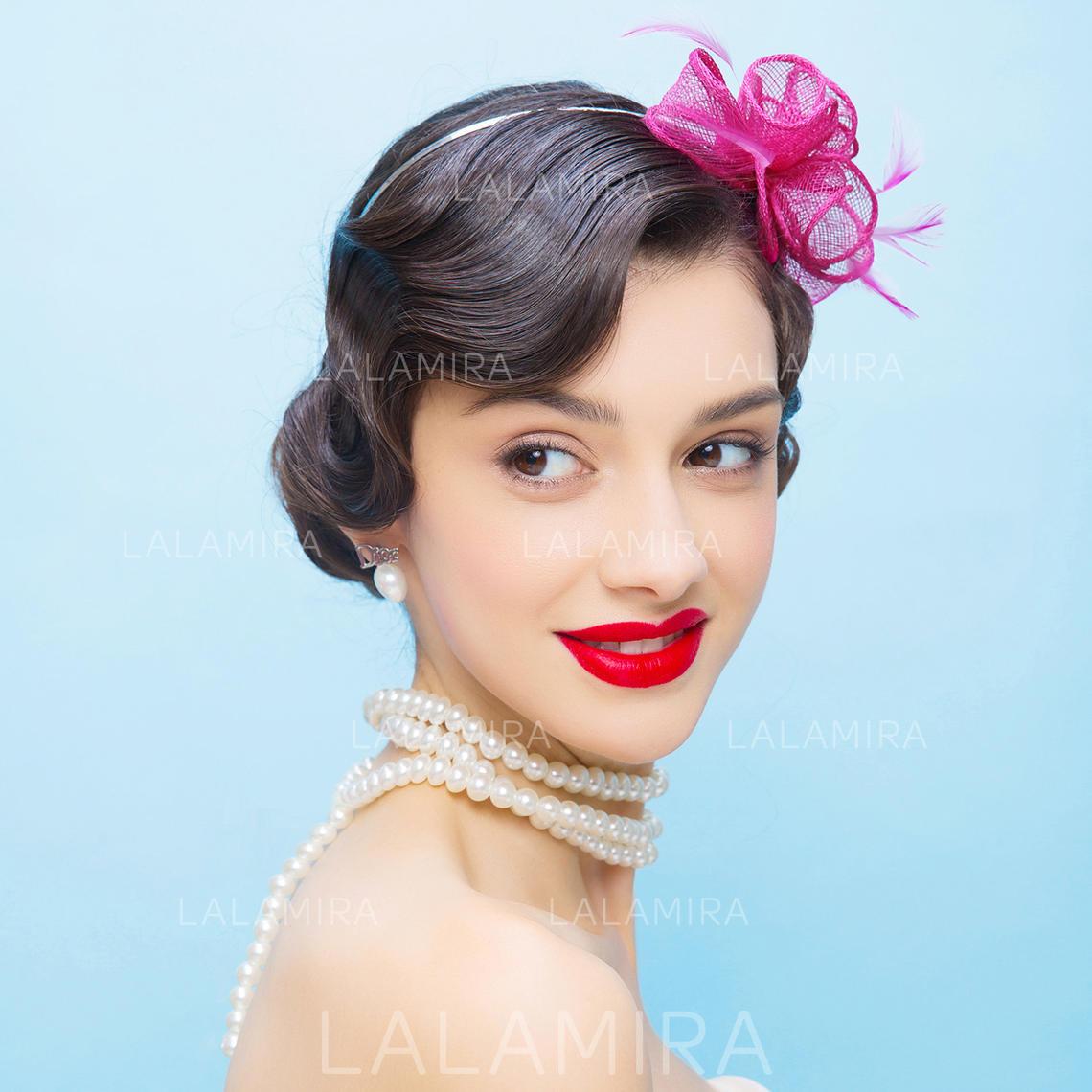 be42fa9e6e5b7 Net Yarn With Feather Fascinators Beautiful Ladies' Hats (196194283).  Loading zoom