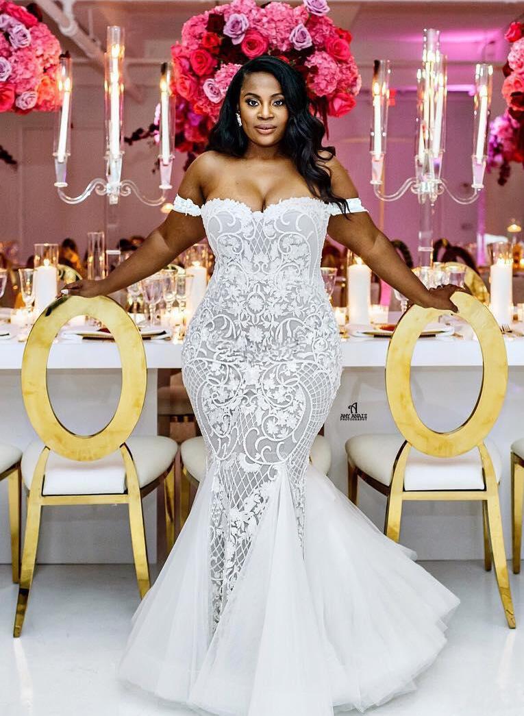 Trumpet Mermaid Lace Tulle Beautiful Wedding Dresses 002213515