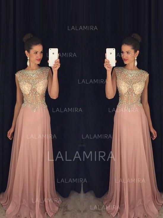 scoop neck a-line/princess chiffon sleeveless simple prom dresses