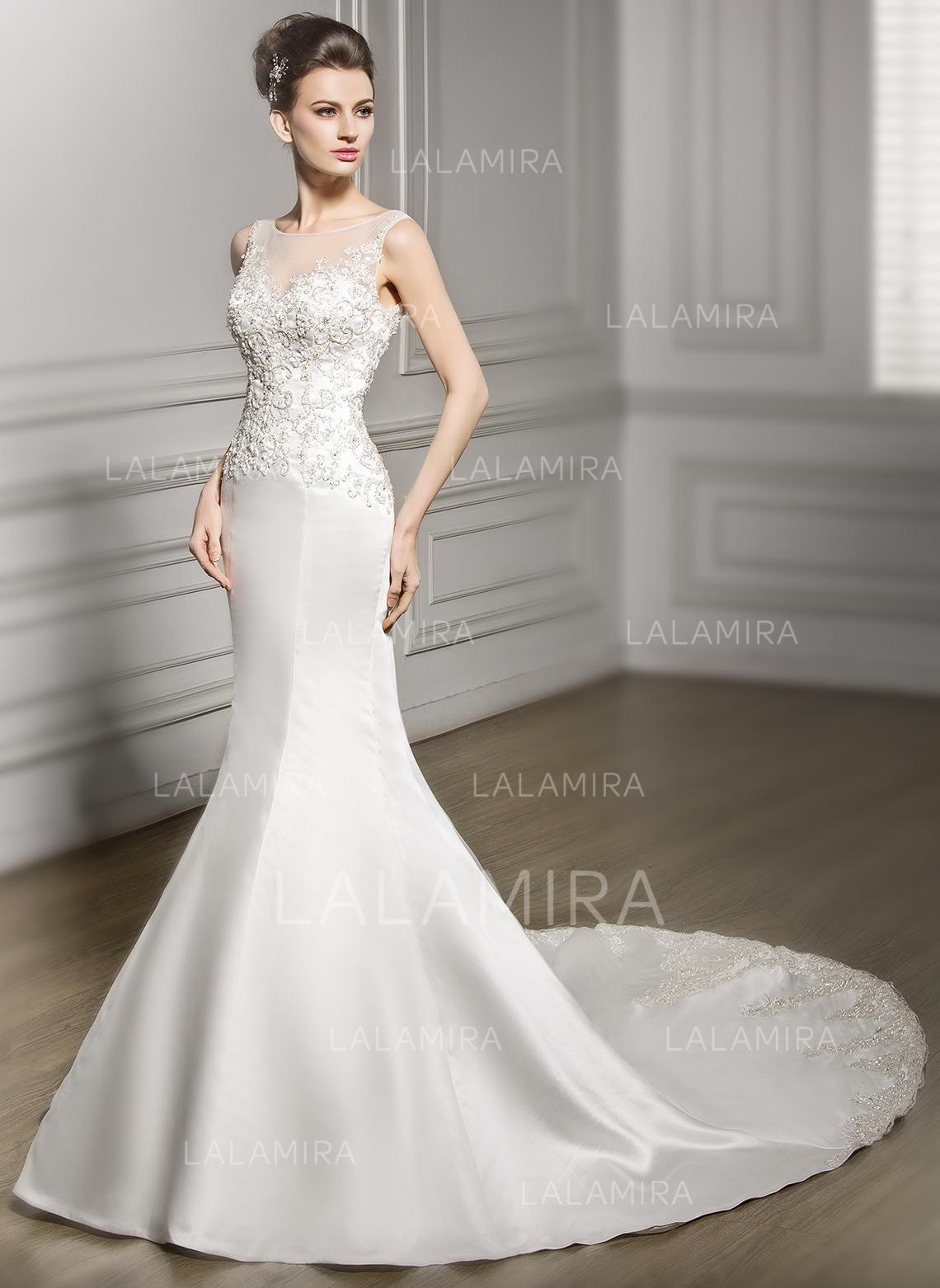 Scoop Trumpetmermaid Wedding Dresses Satin Lace Beading Sequins