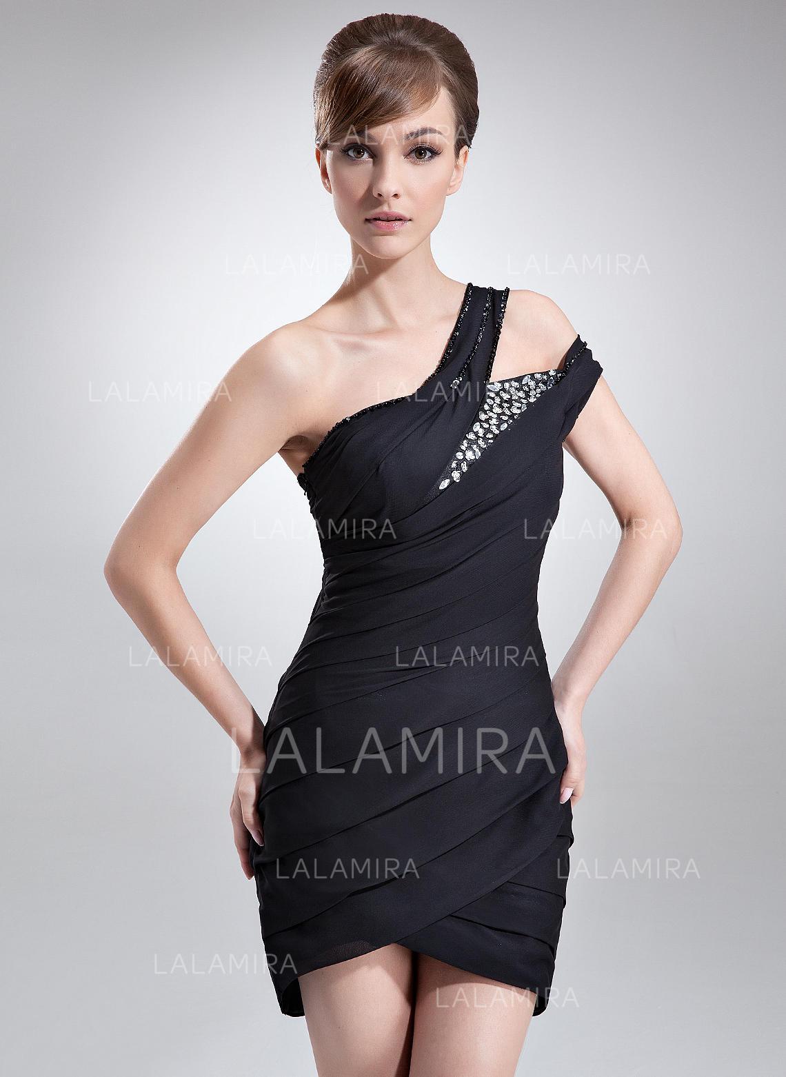 cf79bdaa2565 One-Shoulder Sleeveless Chiffon Sheath/Column Cocktail Dresses (016008341). Loading  zoom