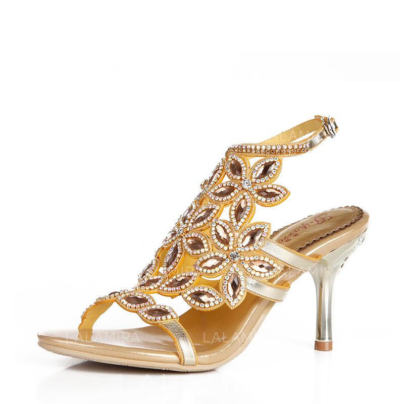 606c0e24f7 Women's Peep Toe Pumps Sandals Slingbacks Stiletto Heel Leatherette With  Buckle Rhinestone Wedding Shoes (047208550. Loading zoom