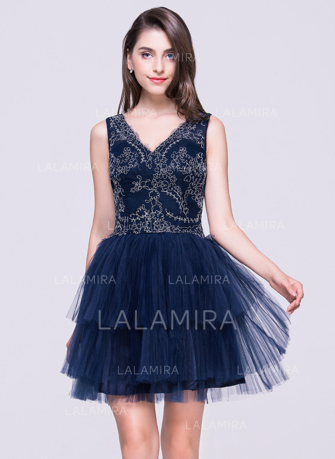 49a41b53ee8c A-Line/Princess Short/Mini Homecoming Dresses V-neck Tulle Sleeveless (. Loading  zoom