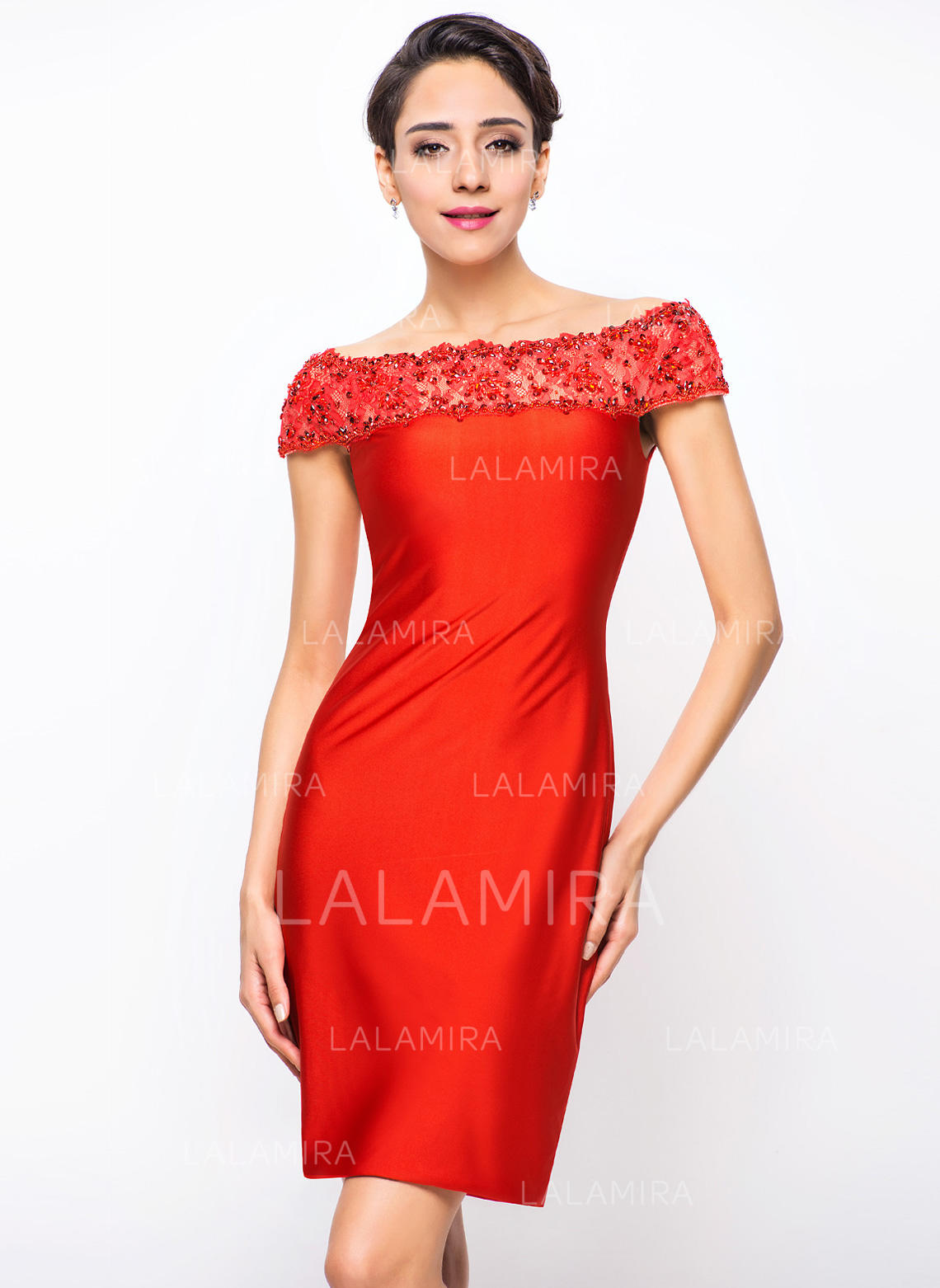 Sheath Column Jersey Cocktail Dresses Lace Beading Sequins Off-the-Shoulder  Sleeveless Knee. Loading zoom 414d95146