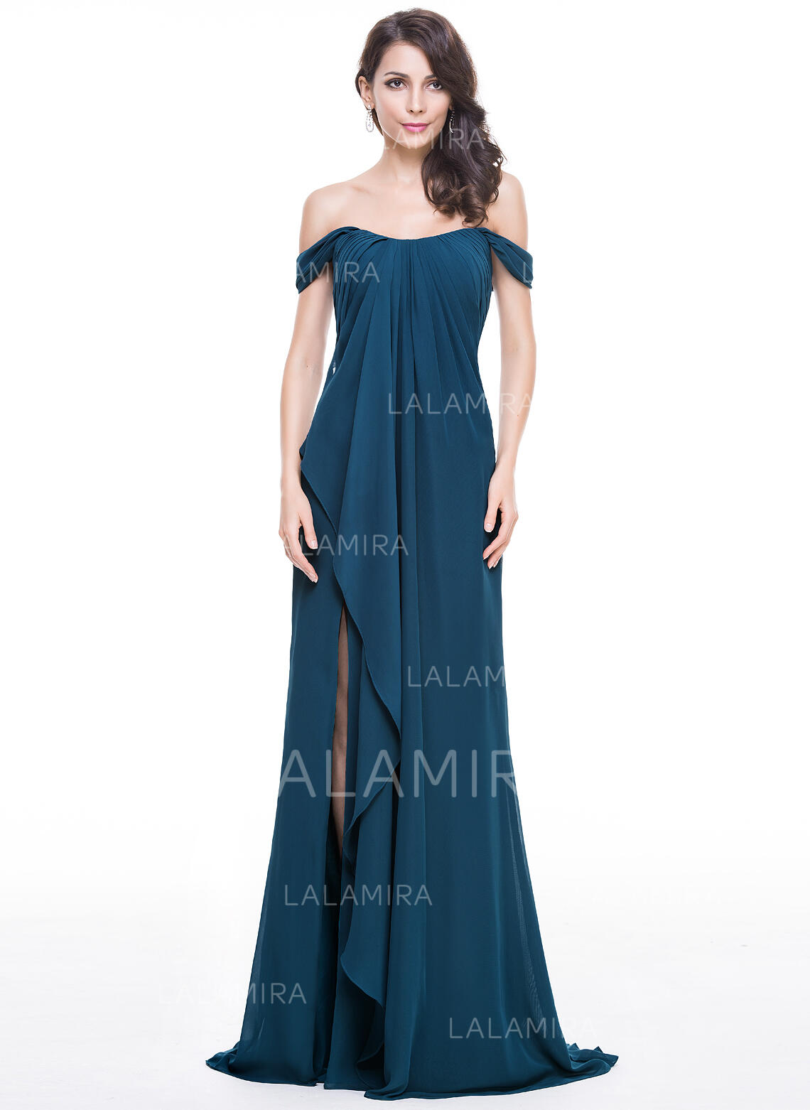 7752dc8cbae A-Line Princess Prom Dresses Gorgeous Sweep Train Off-the-Shoulder  Sleeveless. Loading zoom