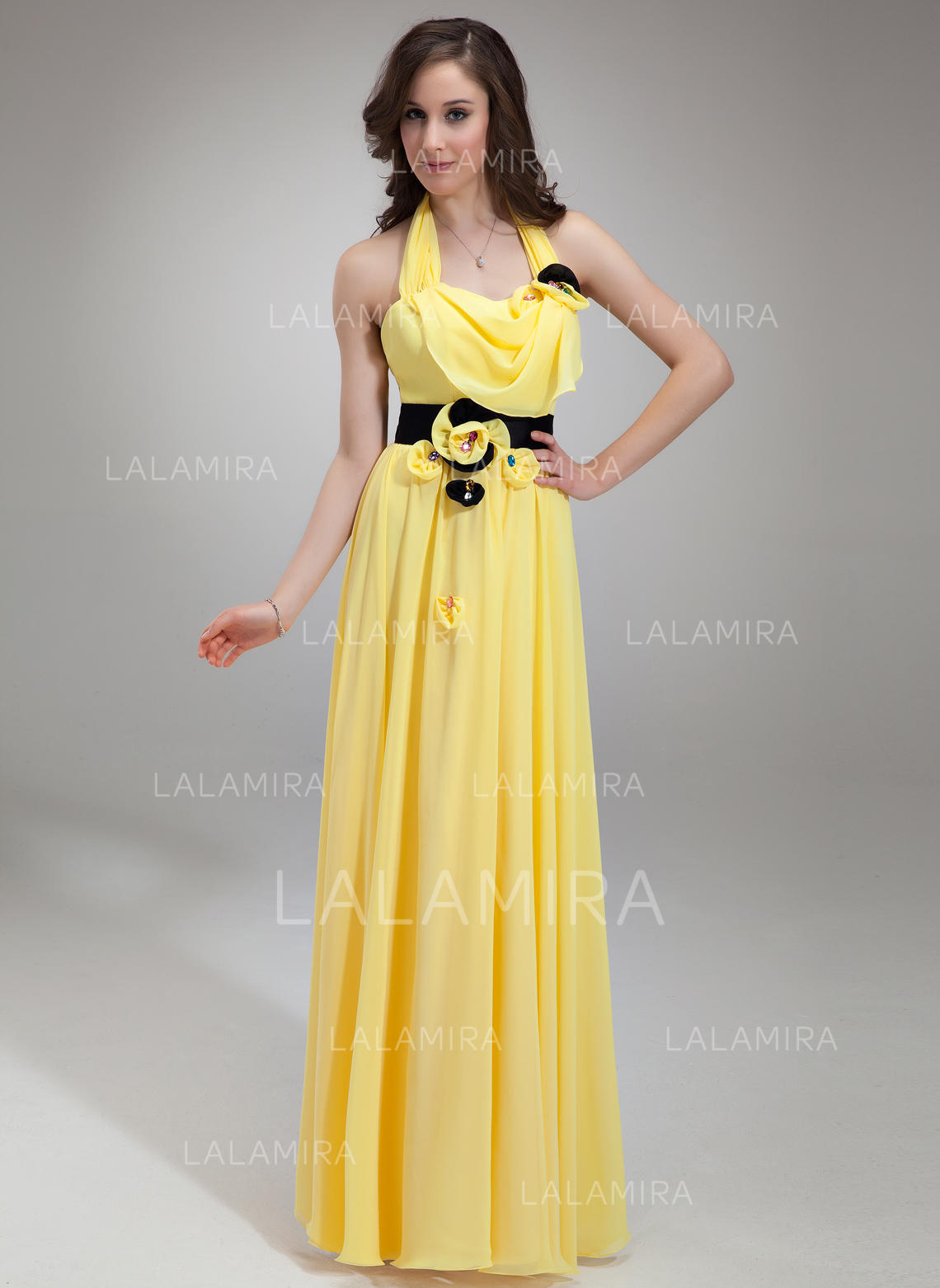 e66fcdef44e A-Line Princess Chiffon Prom Dresses Ruffle Sash Beading Halter Sleeveless  Floor-Length. Loading zoom