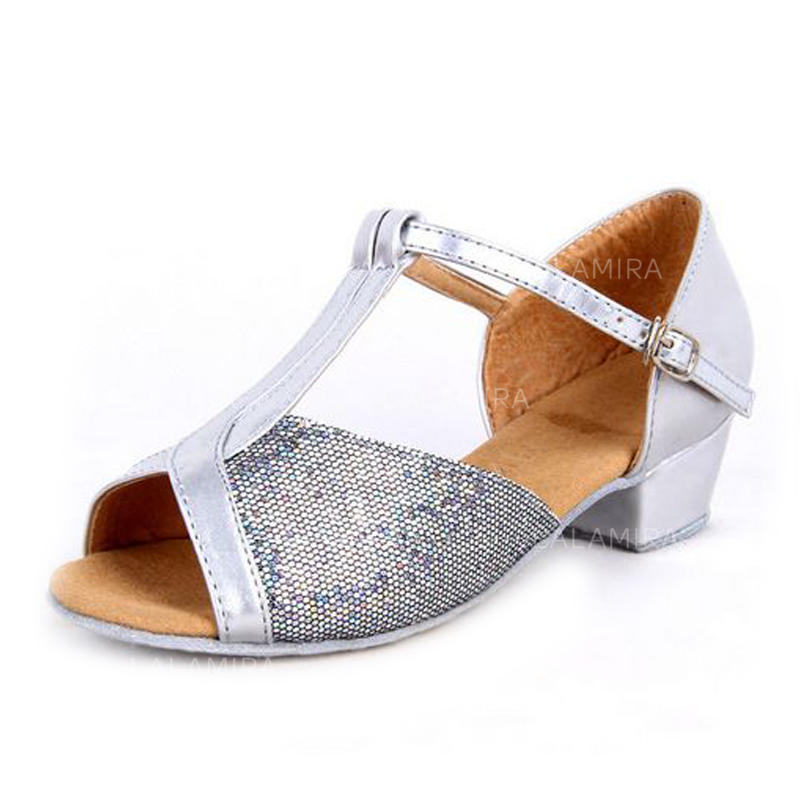 34e94b49c Kids  Latin Heels Sandals Leatherette Sparkling Glitter With T-Strap Dance  Shoes (053179366. Loading zoom