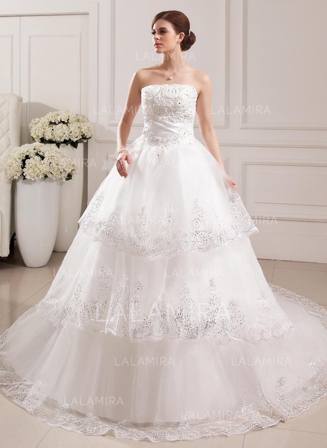 lace beading flower(s) sleeveless strapless tulle ball-gown wedding dresses