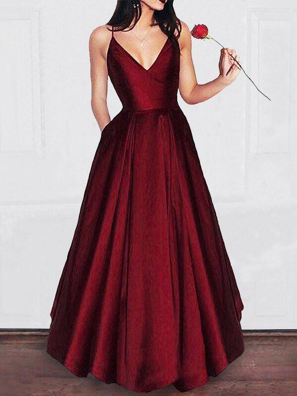 A-Line/Princess V-neck Floor-Length Evening Dresses With Ruffle ...