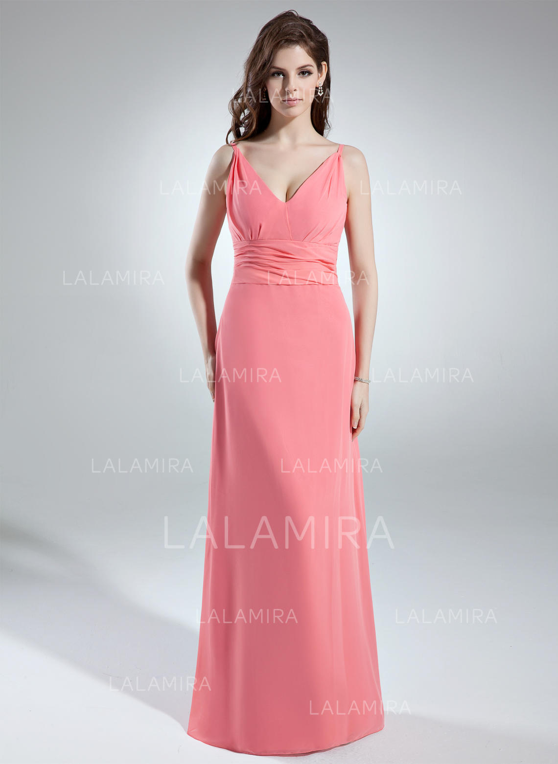 A-Line/Princess V-neck Floor-Length Chiffon Bridesmaid Dresses With ...