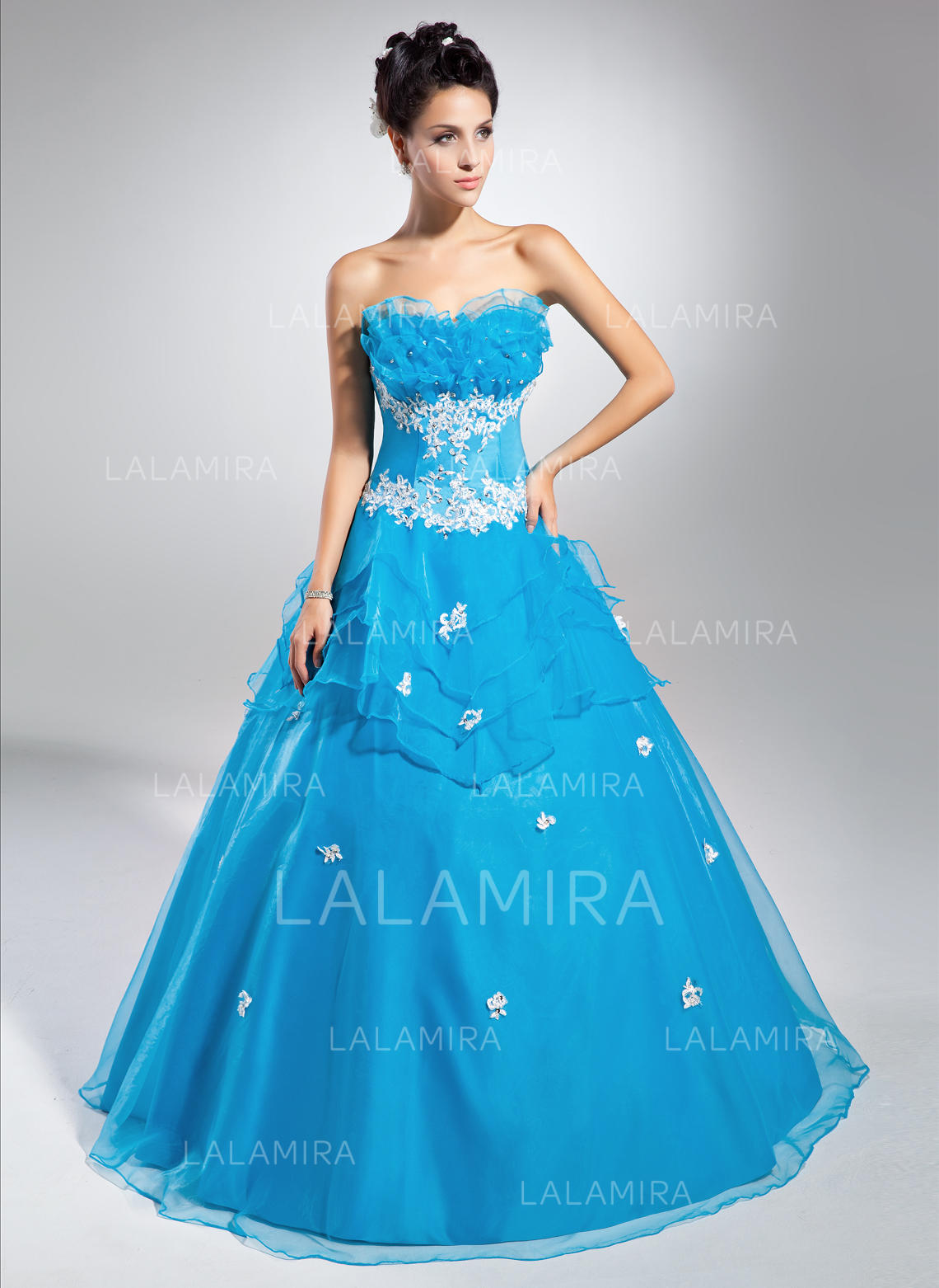Ball-Gown Scalloped Neck Floor-Length Organza Prom Dress With ...