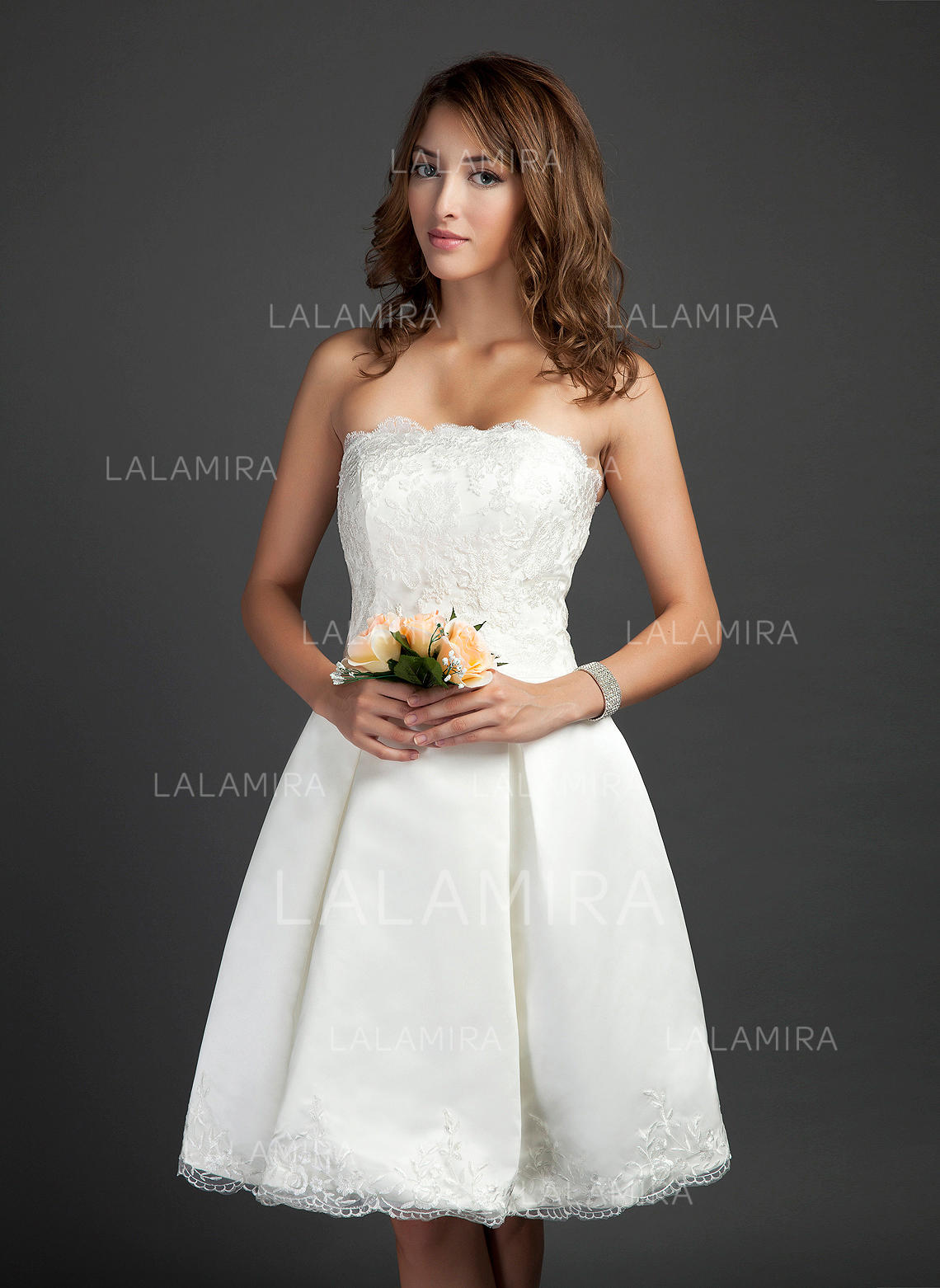 3a66cde6533 Newest Strapless A-Line Princess Wedding Dresses Knee-Length Satin  Sleeveless (002211505. Loading zoom