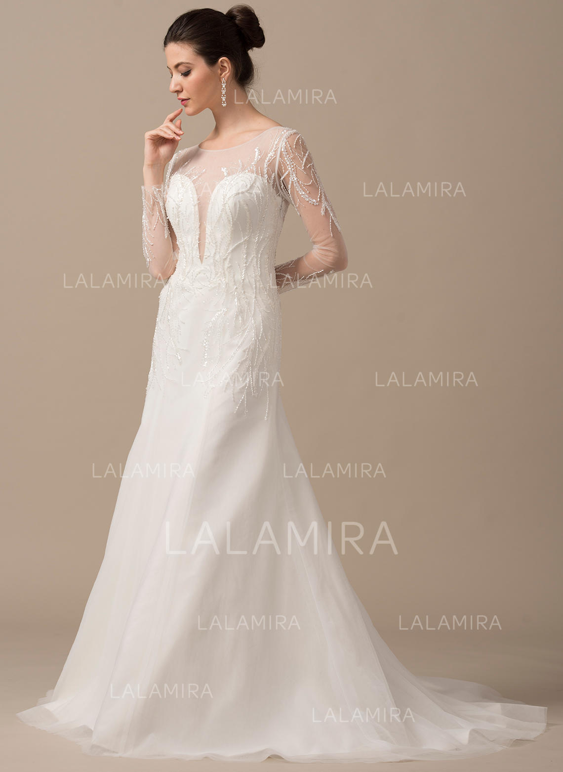 5654dc8181d Chic Scoop A-Line Princess Wedding Dresses Sweep Train Tulle Long Sleeves  (002210632. Loading zoom