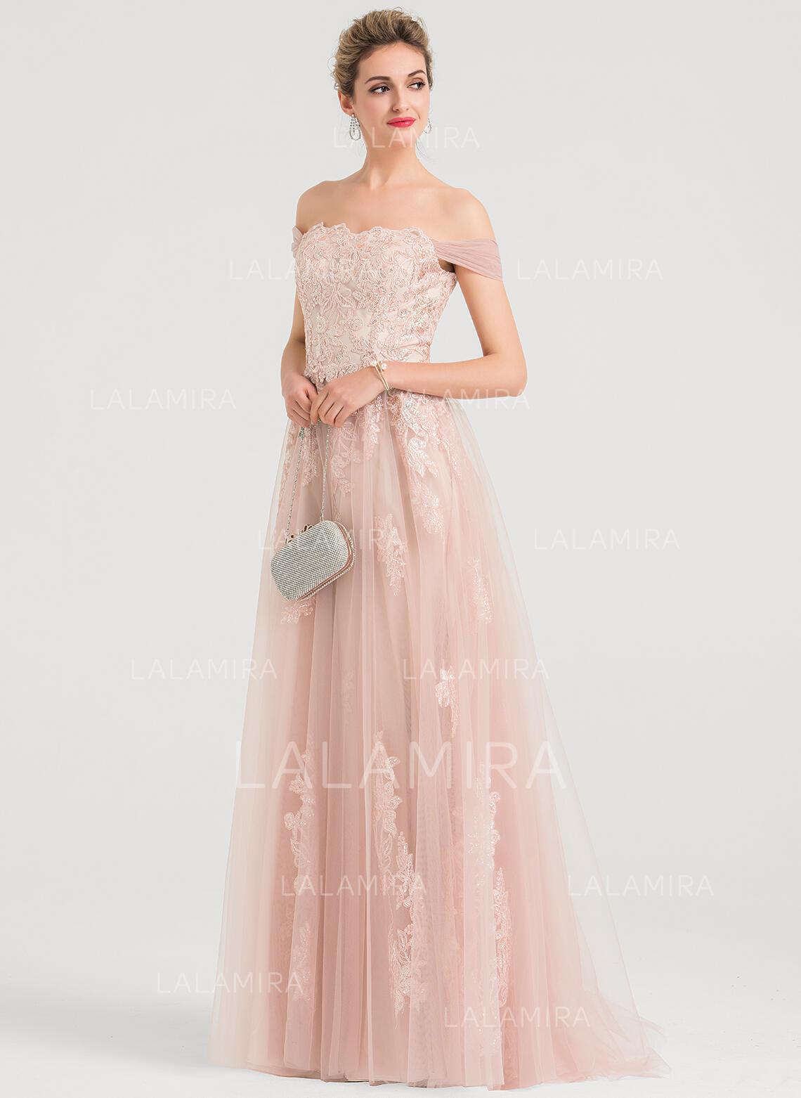 Train Tulle Evening Dress