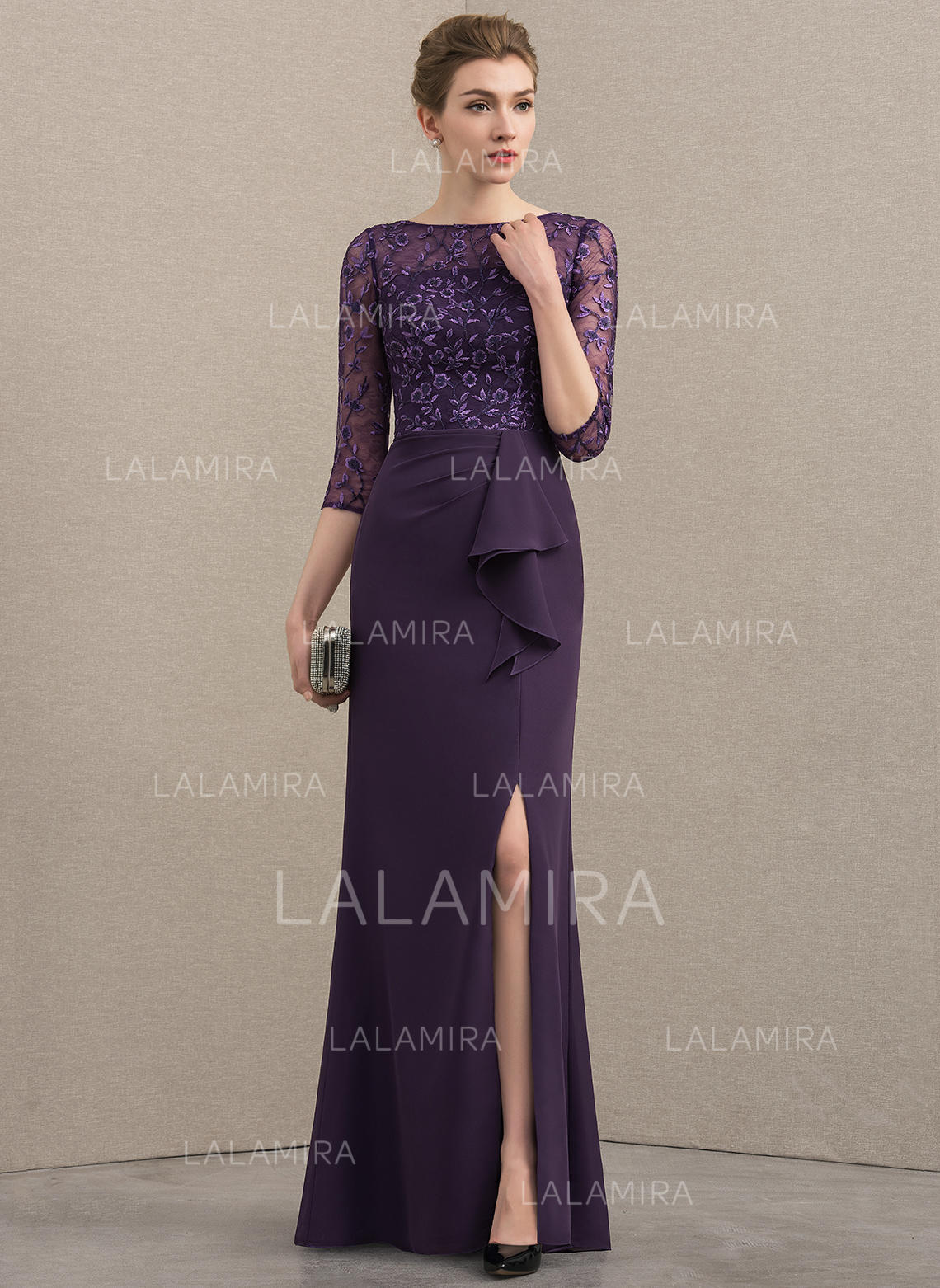 2ea399d3fe16 A-Line/Princess Scoop Neck Floor-Length Chiffon Lace Mother of the Bride. Loading  zoom
